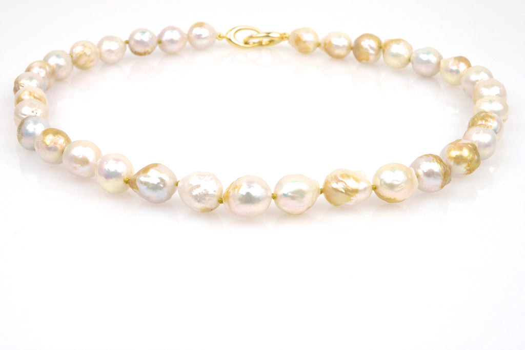 golden iridescent pearl necklace