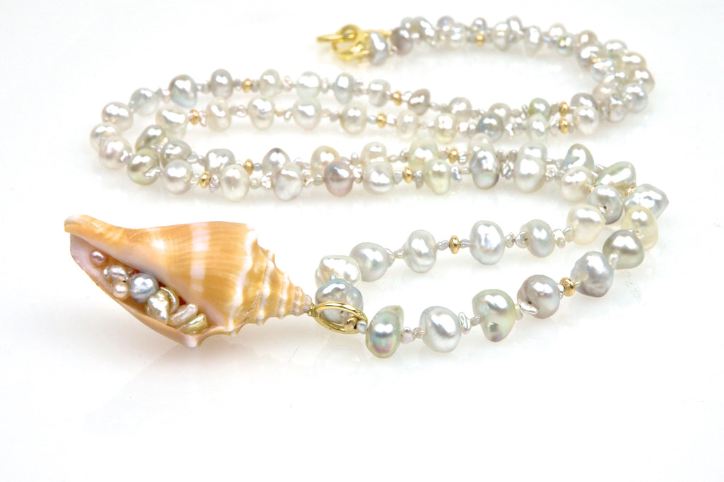 white tahitian keshi pearl and seashell necklace