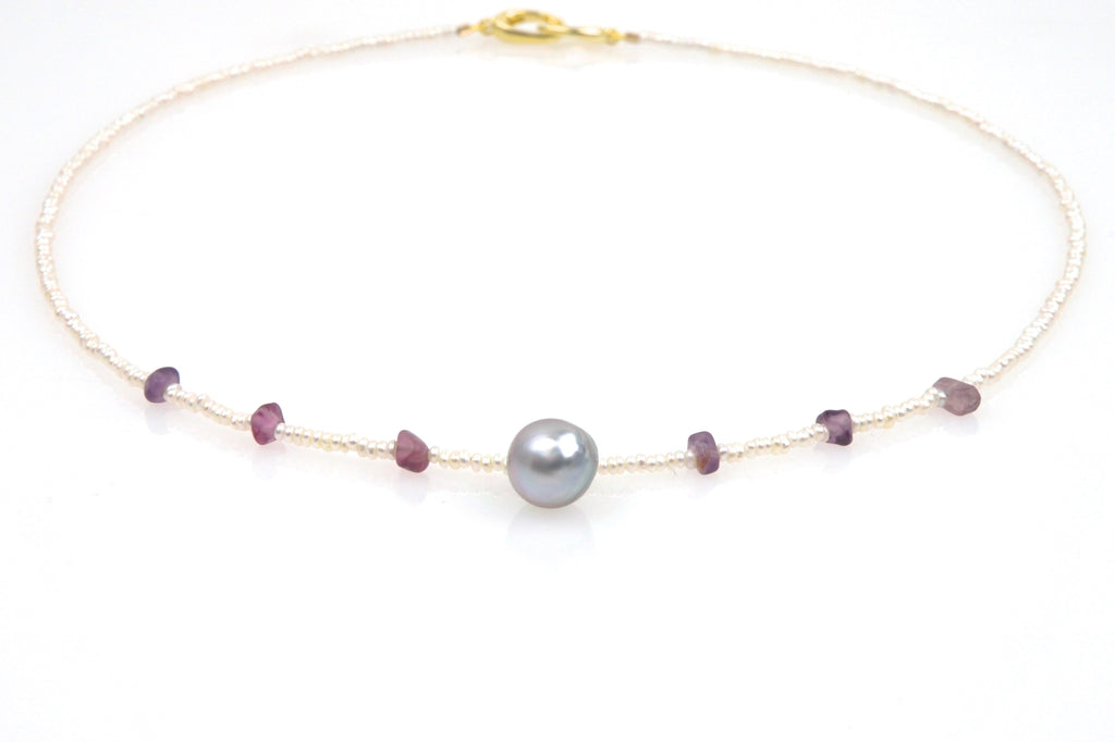 rhea pearl and lavender spinel necklace