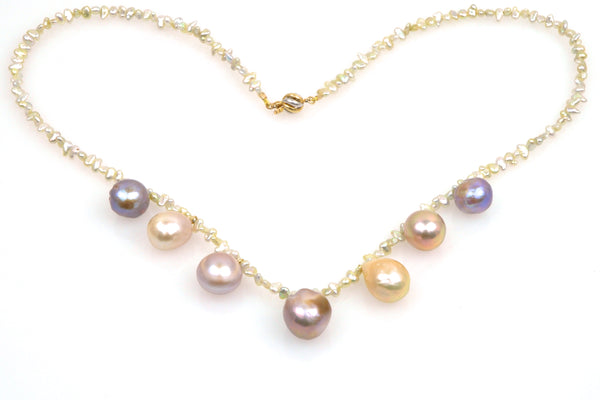 akoya keshi and japan kasumi pearl bauble necklace