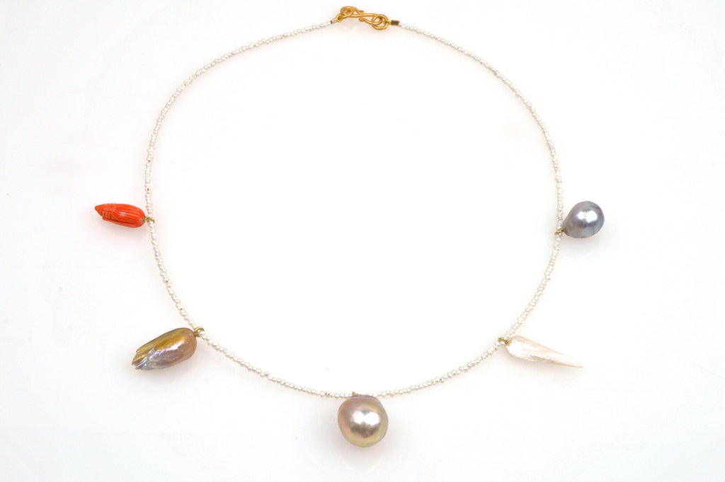 five treasures pearl and vintage coral necklace