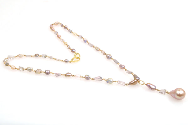 japan kasumi keshi pearl and tourmaline crystal necklace
