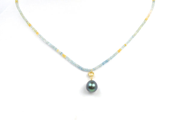 tiny tourmaline bead and tahitian pearl necklace