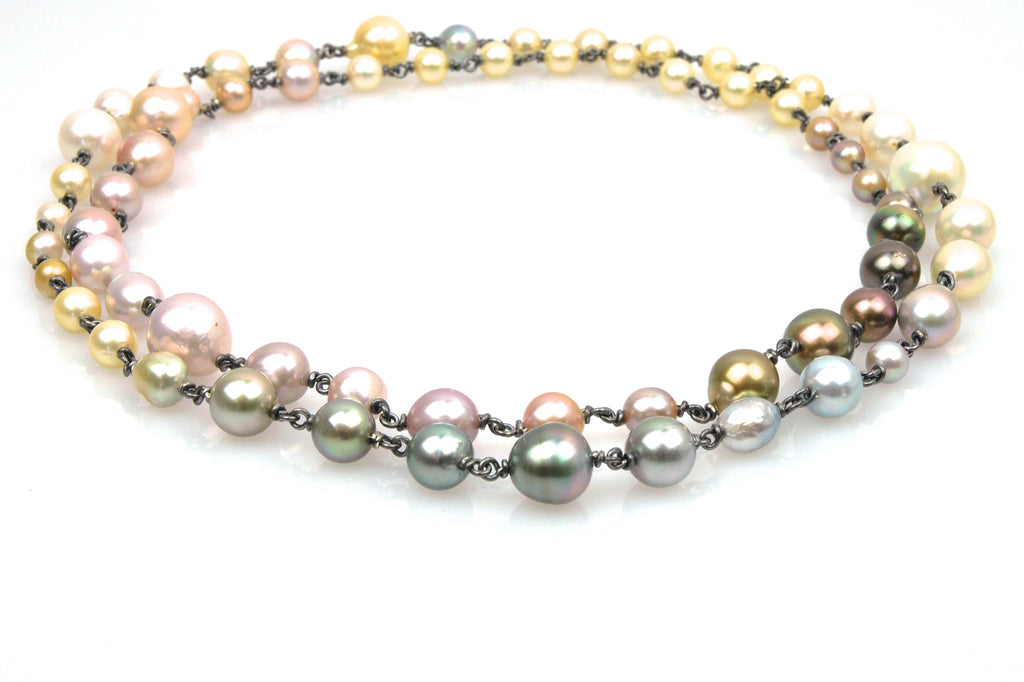 color palette pearl wrap necklace