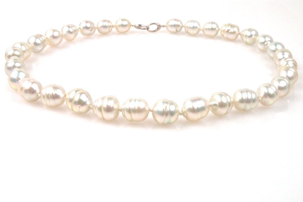 snow white south sea banded pearl necklace