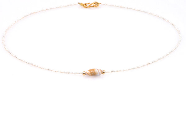 california seashell and seed pearl necklace