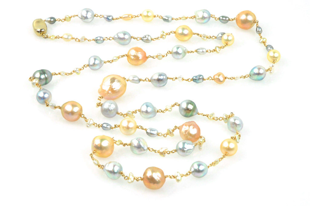 queen's table japan kasumi, akoya and tahitian pearl necklace