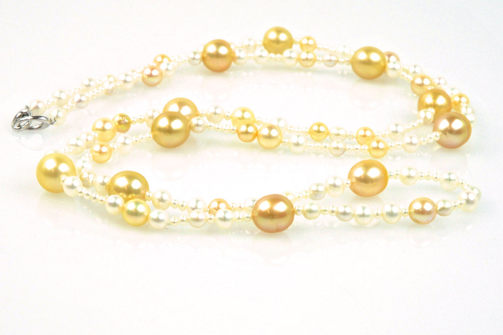 golden orb pearl medley necklace