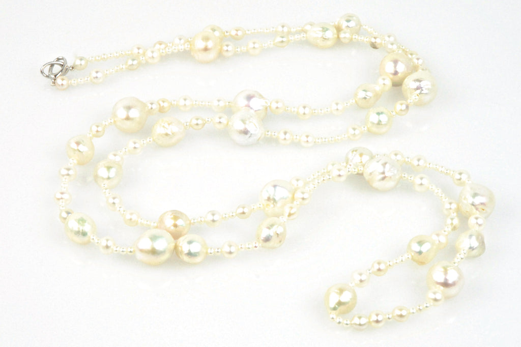 laume white pearl waterfall rope necklace