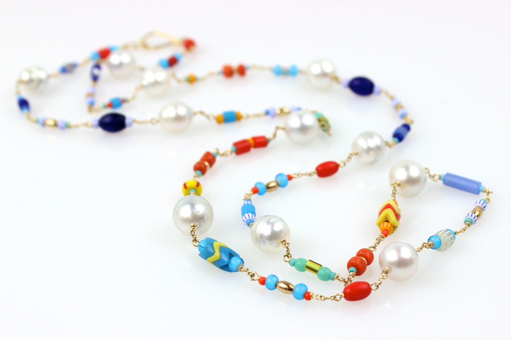 African glass and South Sea pearl wrap necklace