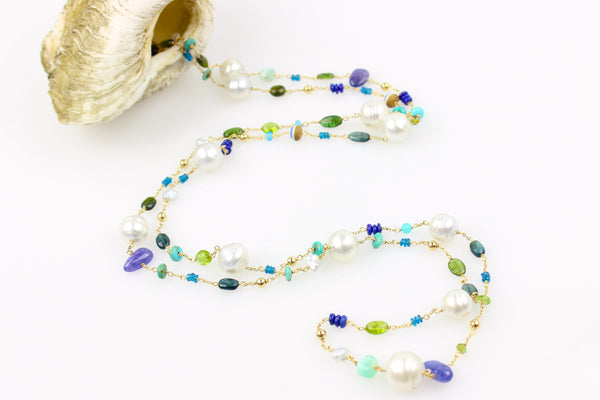 extra long South Sea pearl nautical wrap necklace