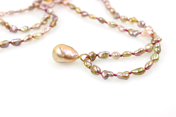 "golden baroque keshi  ""perfect"" pearl chain"
