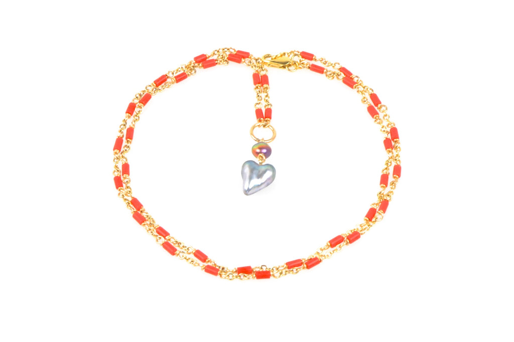 tahitian heart and italian coral necklace