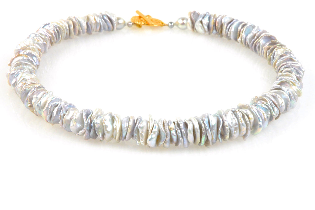 la sirene stacked silver coin pearl necklace