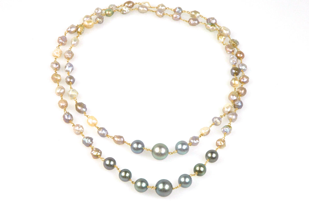 tahitian pearl and rosebud pearl necklace