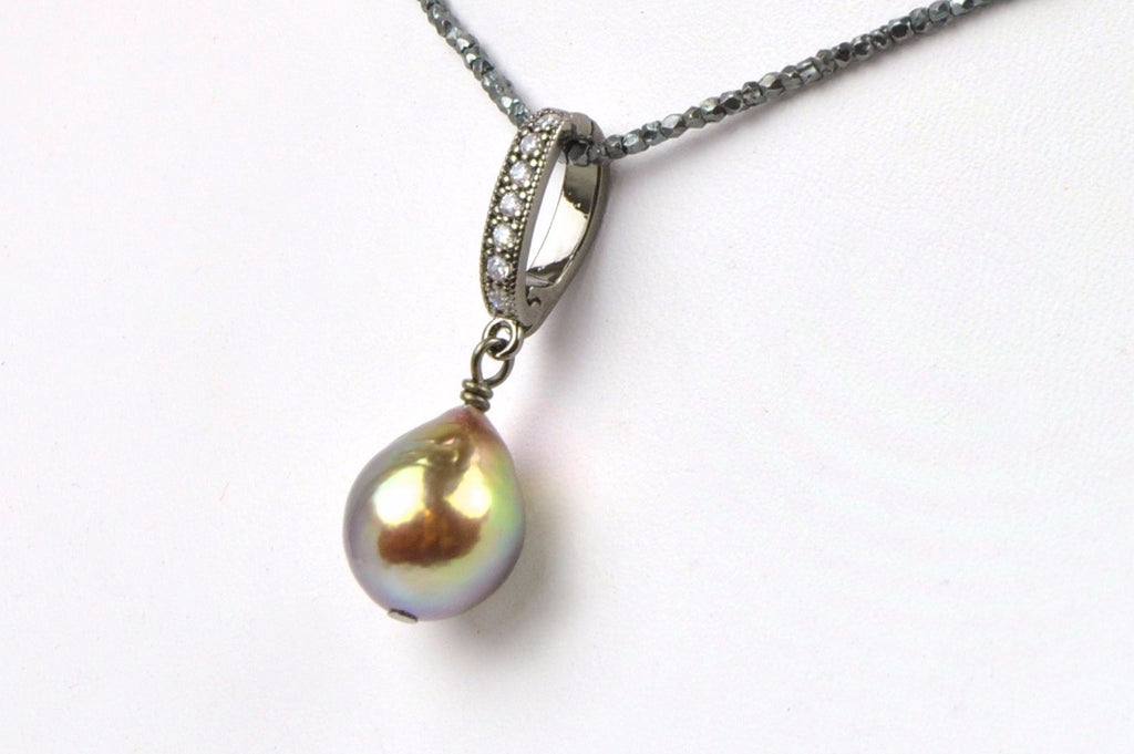 deep rainbow metallic luster pearl enhancer pendant