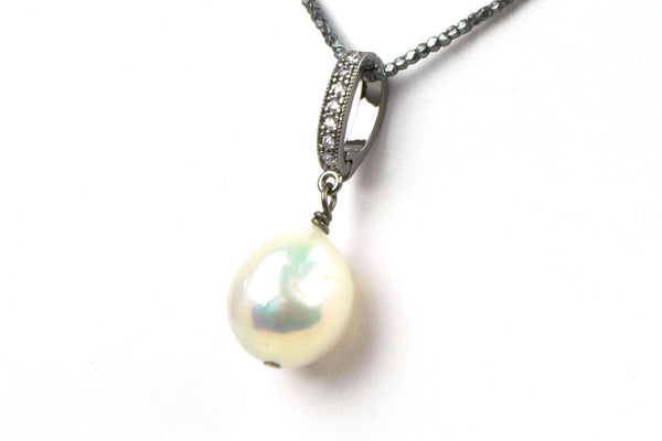 iridescent white drop pearl enhancer pendant