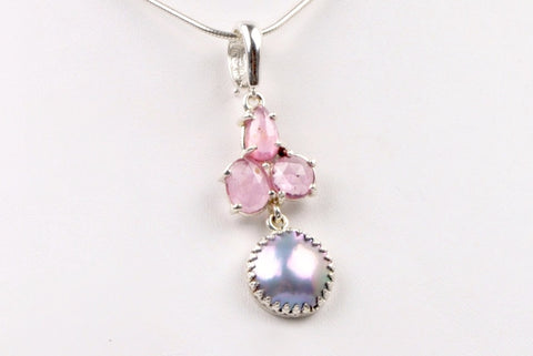 sea of cortez mabe pearl and pink sapphire enhancer pendant