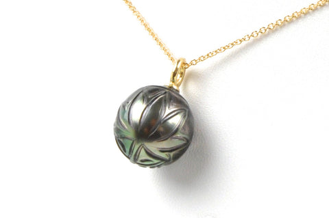 sweet leaf carved tahitian pearl pendant
