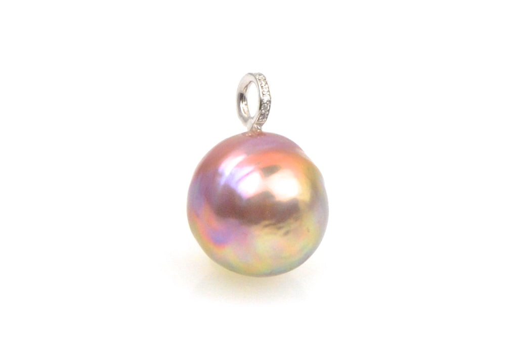 rainbow ripple pearl and diamond pendant