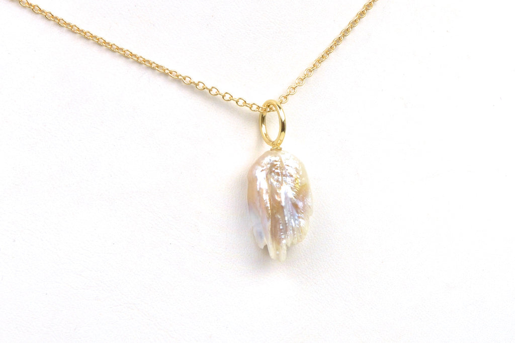 feather pearl simple 14k pendant