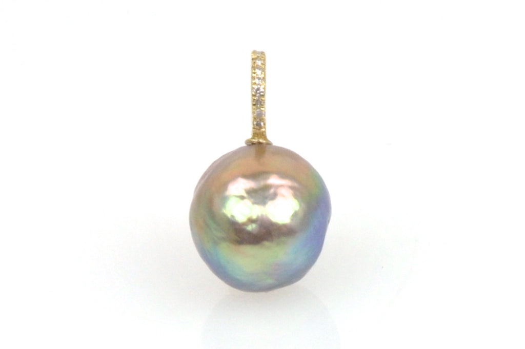 rainbow baroque japan kasumi pearl and diamond pendant