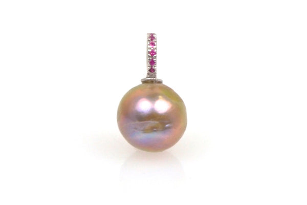 japan kasumi pearl and pink sapphire pendant