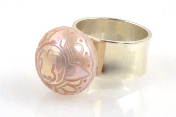 sea turtle carved pearl sterling ring