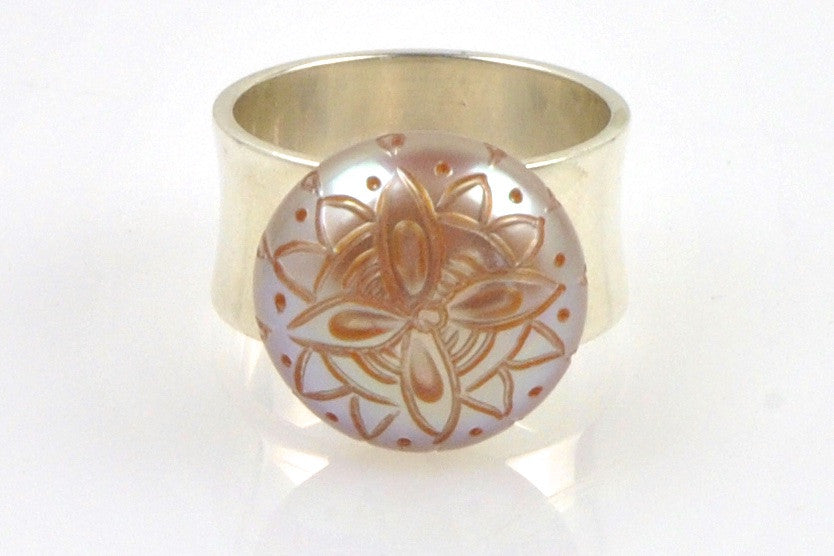 carved flower pearl sterling ring