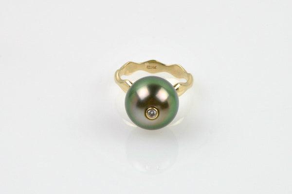 peeking diamond tahitian pearl ring