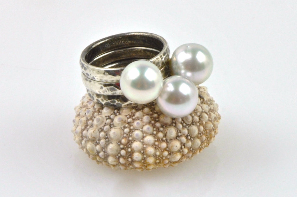 oxidized silver white south sea pearl stacking rings