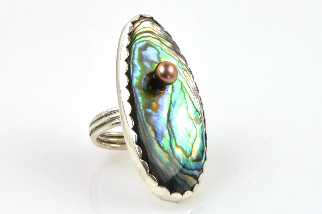 rainbow huge statement ring with abalone and freshwater pearl