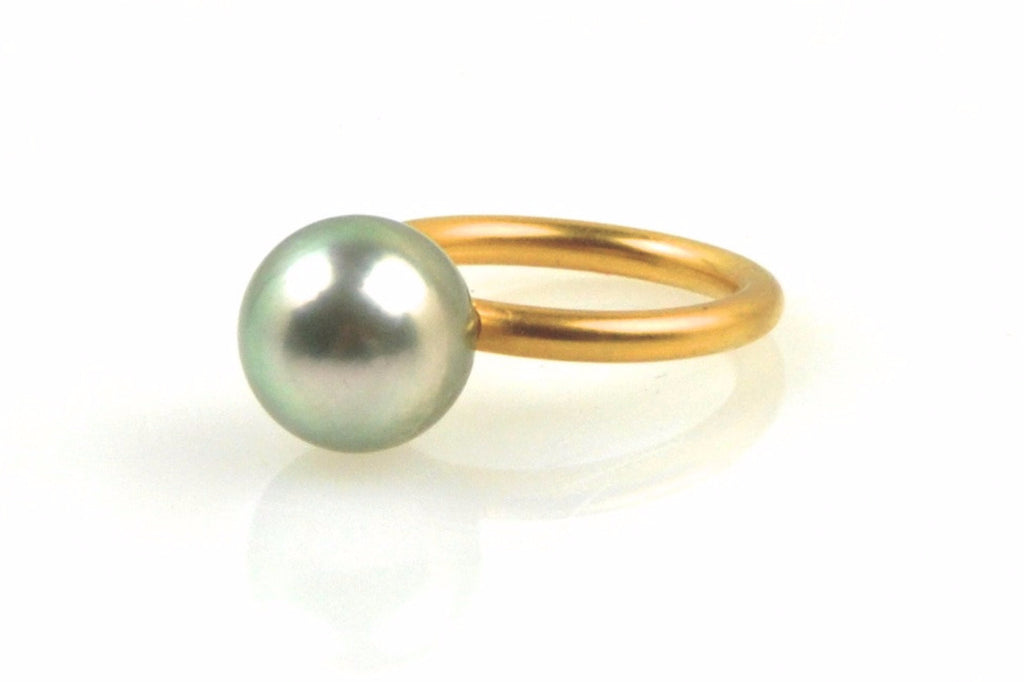silver tahitian pearl stacking ring