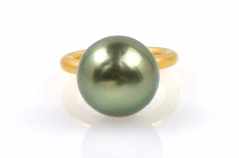 14mm peacock tahitian pearl stacking ring