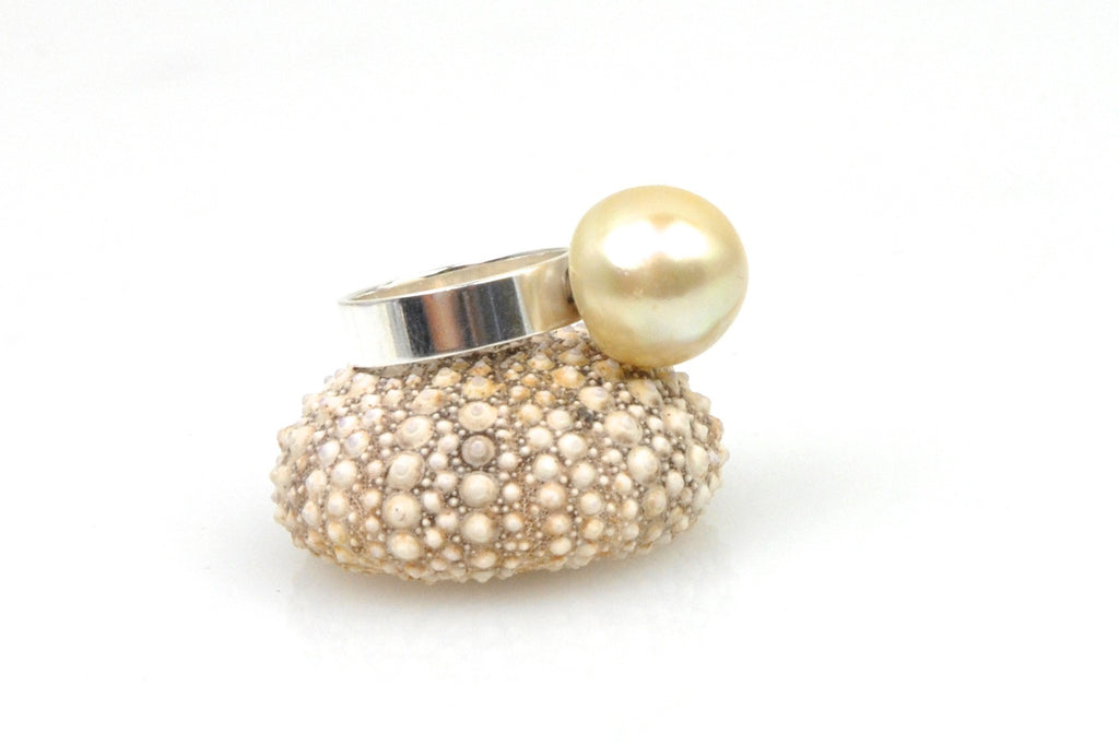 buttery golden south sea and sterling silver band ring