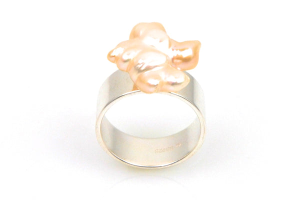 free form pearl burst ring