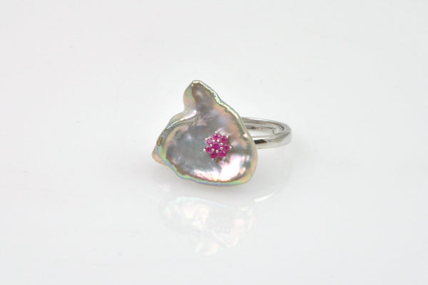 """inner petal"" metallic luster deep silver purple pearl and ruby flying heart ring"
