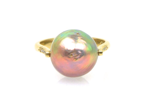 button japan kasumi pearl and diamond ring