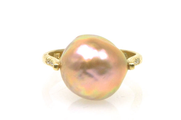 peach japan kasumi pearl and diamond ring