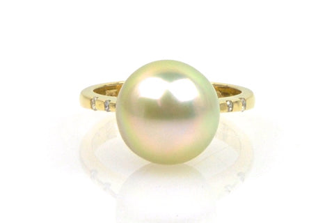 rare golden tahitian pearl ring