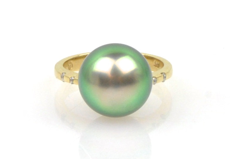 green tahitian pearl and diamond ring
