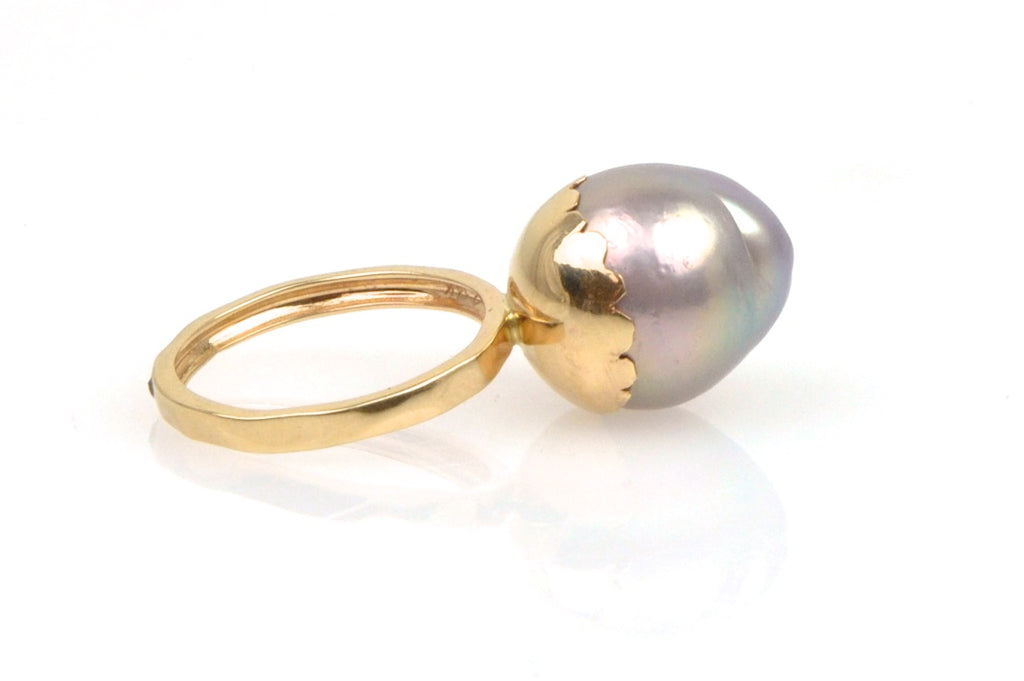 rainbow drop budding pearl ring