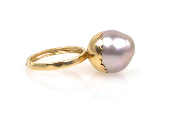 mauve drop budding pearl ring