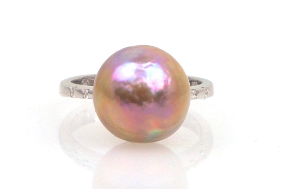 coppery ripple japan kasumi pearl and diamond ring
