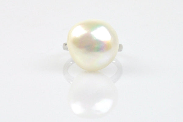 white baroque pearl ring