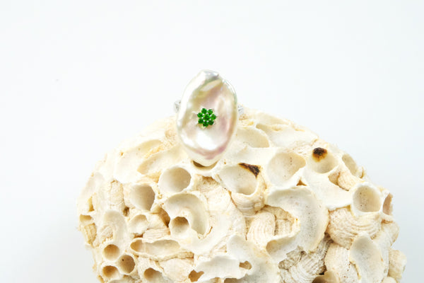tsavorite and chinese freshwater pearl ring