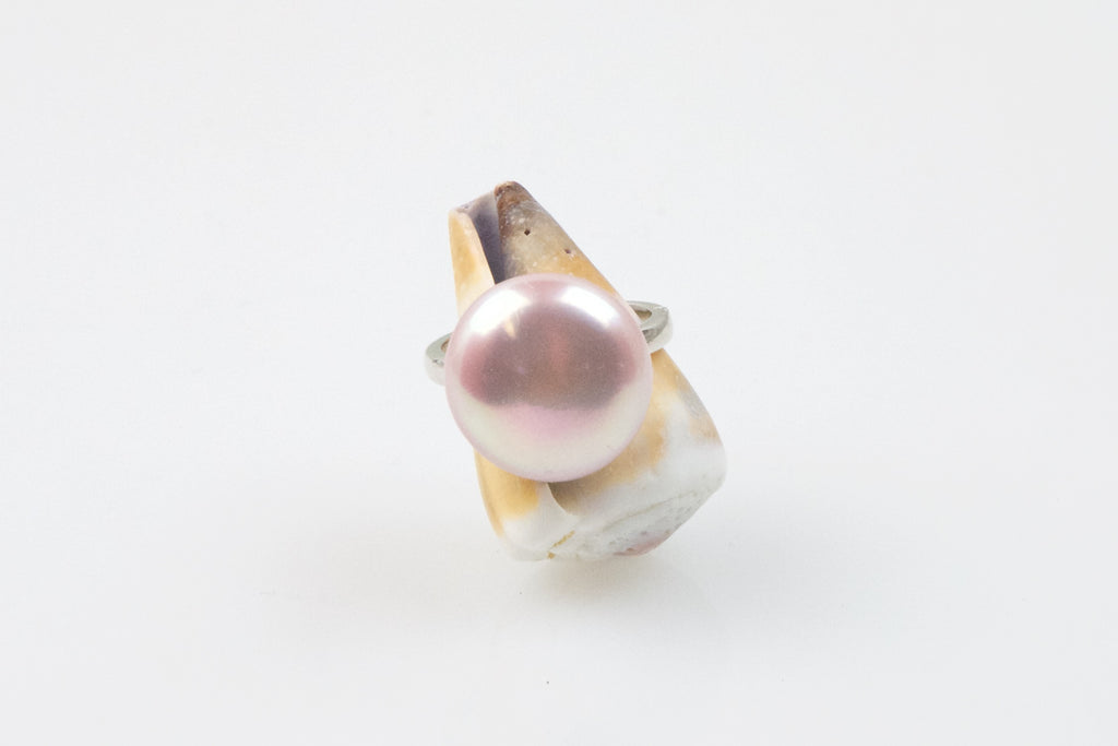 sweet pink button chinese freshwater pearl ring