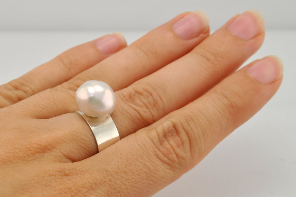 iridescent white baroque pearl ring