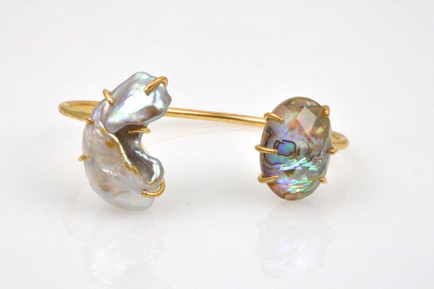abalone and textured pearl brass bangle