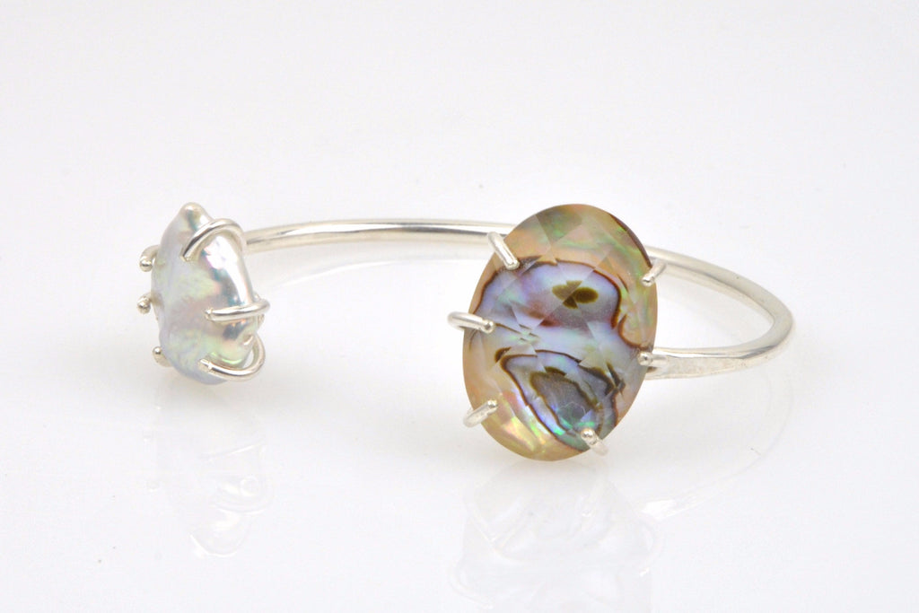 abalone and teardrop pearl sterling bangle